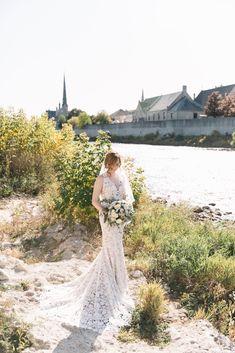 Real Bride Laura wears Bloem by Laudae from Sash & Bustle - # Tea Length Bridesmaid Dresses, Wedding Bridesmaids, Wedding Dress Bustle, Wedding Gowns, Colored Wedding Dress, Special Occasion Dresses, Sash, Bridal, Rhinestones