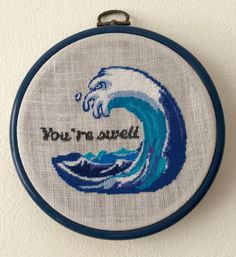 How can you tell someone you care about them? Youre Swell! This cute little wave and loving message were inspired by my time living at the beach for a year in Biarritz, France. A little slice of heaven! Blue is one of my favorite colors and this pattern has plenty of variations. The sample above is stitched on 28 count linen and framed in a 5 inch flexi hoop.  Your instant download includes a 1 page color symbol chart, a 4 page close up color symbol chart, 1 page of instructions and thread…