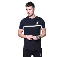 11 degrees black reflective taped t-shirt
