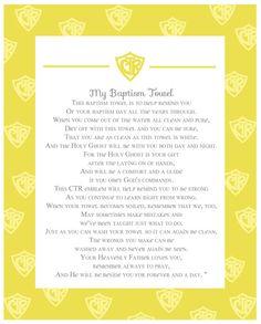 Deseret Designs: Baptism Towel Poem