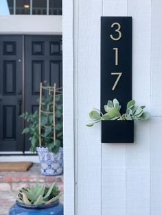 Modern Aspect Standing Tall Wall Address Plaque Plaque Colour: Black, Customize: Yes, Font Colour: Brass Address Numbers, Address Plaque, House Address, House Number Plaque, Number Signs For House, Diy House Numbers, Colorful Succulents, Tall Planters, Steel Wall
