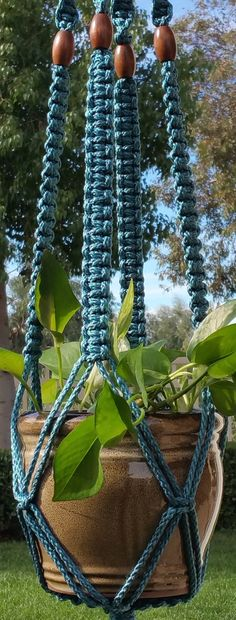 CLASSIC Blue Handmade Macrame Plant Hanger by ChironCreations