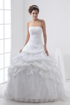 Romantic White Ivory Taffeta Wedding Gown - Order Link: http://www.theweddingdresses.com/romantic-white-ivory-taffeta-wedding-gown-twdn3506.html - Embellishments: Draped; Length: Floor Length; Fabric: Taffeta; Waist: Natural - Price: 183.677USD