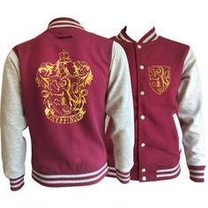 Vintage style Harry potter Inspired Gryffindor House varsity jacket... (190 BRL) ❤ liked on Polyvore featuring outerwear, jackets, purple letterman jacket, varsity bomber jacket, pocket jacket, gold jacket and vintage style jackets