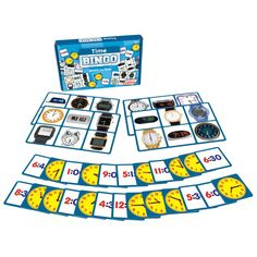 Time Bingo is a matching game for teaching analog and digital time. Contains 4 boards and 24 cards. Time matching game for teaching analog and digital time. Colorful, bold images used throughout. x Ages Bingo Games, Card Games, School Games For Kids, Kids Gift Baskets, Family Board Games, Learning Time, Puzzle Books, Star Citizen, Family Game Night
