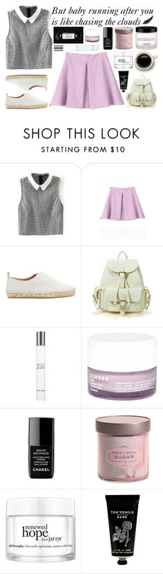 """""""Chasing The Clouds"""" by bubblybeauty135 ❤ liked on Polyvore featuring Flamingos, Giorgio Armani, Korres, Chanel, philosophy and TokyoMilk"""