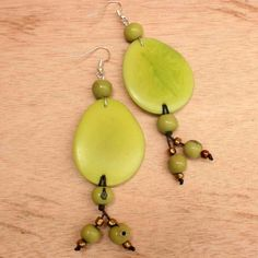 Earth Green Dangling Earrings of Tagua Nut