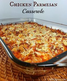 Chicken Parmesan Casserole - saucy and cheesy with a crunchy topping for just 303 calories or 8 Weight Watchers points per serving! www.emilybites.com #healthy