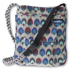 KAVU Sidewinder-Holly Leaf-100% Cotton. Expandable bag with an adjustable rope shoulder strap, one main compartment with snap closure, one exterior zip pocket, one hook and loop stash pocket and a patch pocket with key clip.  Nylon liner for easy maintenance. Dimensions:  10