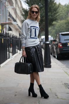 Arabella Greenhill, InStyle UK Fashion Director wears our Leather Midi skirt. Image: Vicki Adamson