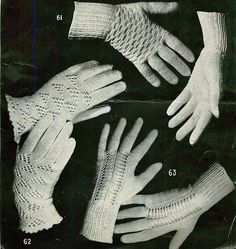 Vintage 1040s knitting pattern for lace glovesBaby its cold outside...time to start making warm mittens and hats for yourself or as gifts for the festive season......