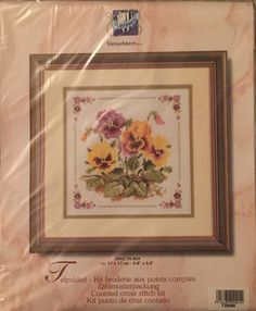 "Vervaco Bordered Pansies Counted Cross Stitch Kit Aida 6.8""x6.8"" 2002/70.869 #Vervaco"