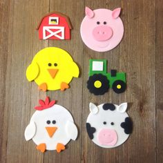 Farm Animals /Barnyard Theme Cupcake Toppers – Edible Fondant – Set of 12 Farm Animal / Barnyard Cupcake Toppers Edible Fondant Set by Farm Animals Preschool, Farm Animal Crafts, Farm Crafts, Animal Crafts For Kids, Toddler Crafts, Preschool Crafts, Kids Crafts, Barnyard Cupcakes, Farm Animal Cupcakes