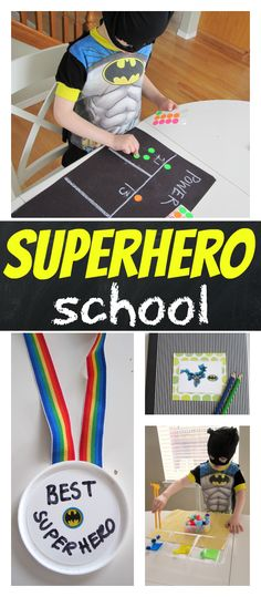 Superhero School - Learning Activities - No Time For Flash Cards Superhero Preschool, Superhero Classroom, Preschool Themes, Superhero Kids, Classroom Setup, Preschool Classroom, Superhero Party, Learning Activities, Kids Learning