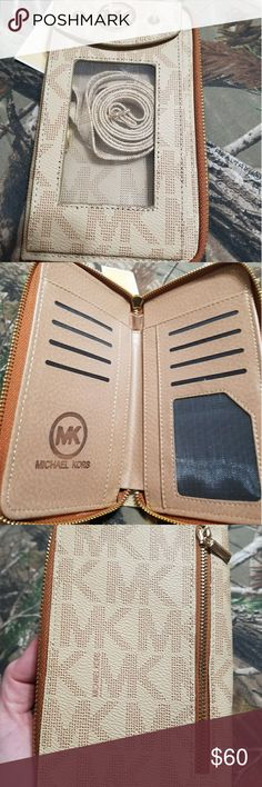 MK CROSS BODY WALLET PHONE CASE. Cross body wallet and phone holder. FITS AND IPHONE OR SAMSUNG PHONE. CAMEL color. Michael Kors Bags Crossbody Bags