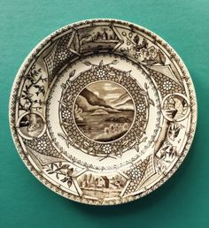 Antique-Brown-Transferware-G-W-Turner-Sons-Phileau-Plate-Tunstall-19th-C