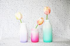 DIY: spray painted ombre glass bottles