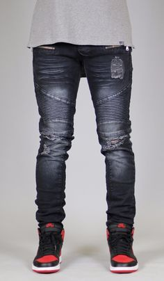 846cff3e67dba Biker Jean custom rip distressed jeans chino slim fit denim biker jeans  pants jogger trouser Biker