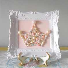 Pearl princess crown art. Mosaic wall art. Pastel pink. Painted ornate frame. Shabby chic girls room. Sparkle glitter picture.: