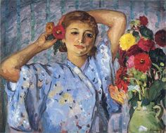 'Young girl with flowers', Oil On Canvas by Henri Lebasque (1865-1937, France)
