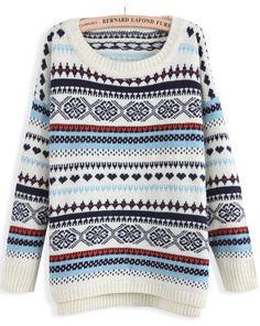 Beige Long Sleeve Striped Loose Knit Sweater - Sheinside.com
