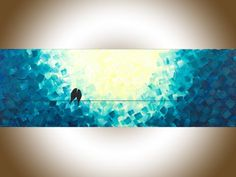 "***TITLE: ""Moonlight Sonata"" ***SIZE: 36"" x 18"" x 0.8"" ***THEME: Abstract love birds on wire. ***MEDIUM: Professional grade acrylics or oils on stretched canvas. The sides are painted black, so theres no need to frame it. A coating of varnish is applied to protect the painting."