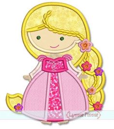 Cutie Princess as Rapunzel with Braid Applique 4x4 5x7 6x10 SVG