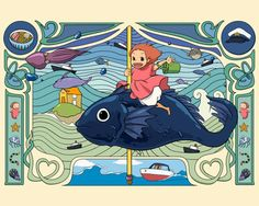 Ponyo Art Nouveau Poster | 47 Insanely Adorable Studio Ghibli Items You Need Immediately