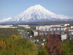 Koryaksky volcano towering over Petropavlovsk-Kamchatsky on Kamchatka Peninsula, Far Eastern Russia.
