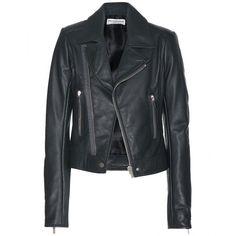 Balenciaga Leather Biker Jacket (148,910 INR) ❤ liked on Polyvore featuring outerwear, jackets, leather jackets, coats, tops, grey, gray moto jacket, grey moto jacket, grey leather jacket and balenciaga jacket