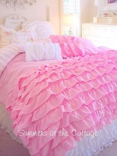 pink ruffle bedspread | PERFECTLY PINK DREAMY RUFFLES SHABBY COTTAGE CHIC COMFORTER SET