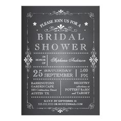Lovely Chalkboard Bridal Shower Invitation #wedding #invitations