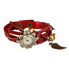 Bohemian Style Retro Handmade Leather Angel Wing Wrist Watch. Beautiful Fashionable Luxury & Stylish Weave Around Wrap Watch Bracelet For Women Ladies Girls. Great Accessory W/ 8 Different Colors- Rose