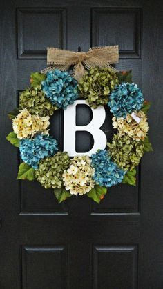 Large, Full, Customizeable Hydrangea Door Wreath for Spring and Summer, 24 Wreath With Monogram. $75.00, via Etsy.
