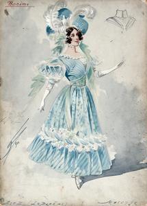 Costume design by Attilio Comelli - Musetta in Act II of 'La bohème' 1900