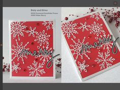 Christmas card using scattered snowflake frame die