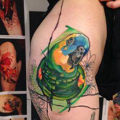 Parrot tattoo by Ivana Belakova
