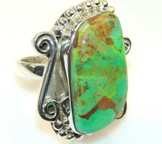 Delight Green Copper Turquoise Sterling Silver Ring s.7 1/4