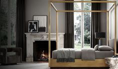 Restoration Hardware Draper Four-Poster Bed, pictured above in brushed brass, starting at $7995