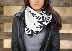 Pendleton Wool Infinity Cowl - Geometric Black & White Reversible - Unisex via Etsy Nina and Sonya Montenegro