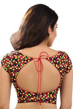 Multicoloured #cotton silk debonair #designer blouse with boat #neck -BL736