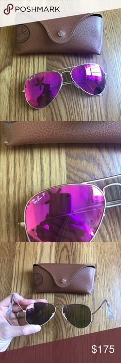 Ray-Ban Original Aviator Sunglasses RB3025 58 These are polarized. Perfect condition. Gold frames with pink mirror lenses. Ray-Ban Accessories Sunglasses