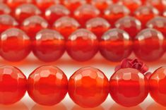 48 pcs of Carnelian faceted round beads in 8mm