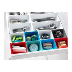 VARIERA Box IKEA Helps organize things in the drawer. Ideal for storing small items like rubber bands and spices. Rounded corners for easy cleaning.