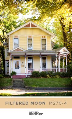 Inspired by the painted ladies of San Francisco, this Victorian home gets a modern pop of color thanks to Behr Paint in Filtered Moon.  A pastel shade of yellow, this hue is sure to brighten up your home's curb appeal. Click below for full color details to learn more.