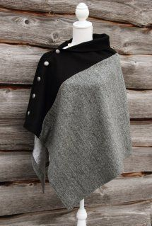 Harriet Hoot Black & Grey Harris Tweed Poncho