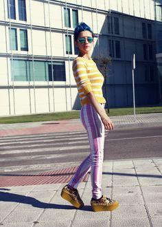 #Stripes! #fashion #prints #pink #yellow #giantvintage @Giant Vintage #mirroredsunglasses #bluehair
