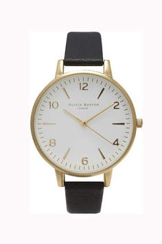**Olivia Burton Large White Face Black and Gold Watch