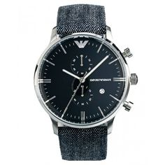 Casual yet stylish, this Emporio Armani men's 'Retro' watch features a denim band holding together your look as well as your watch. Constructed of polished stainless steel, this watch is centered by a glossy, blue dial. Retro Watches, Modern Watches, Fine Watches, Cool Watches, Watches For Men, Men's Watches, Emporio Armani, Armani Men, Armani Watches For Women