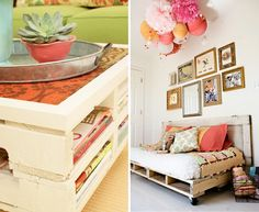 One of my favorite pallet ideas for a casual space - serves so many purposes
